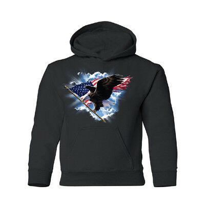 Flying Bald Eagle With American Flag YOUTH Hoodie 4th of July USA Sweatshirt