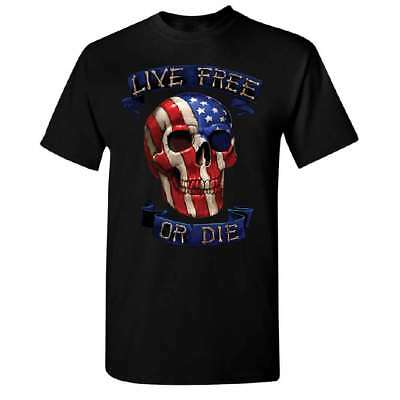 Live Free Or Die American Skull Men's T-shirt 4th of July USA Flag Tee
