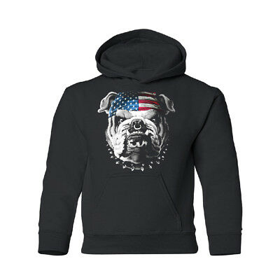 American Bulldog Flag Bandana YOUTH Hoodie 4th of July USA Sweatshirt