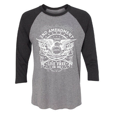 2nd Amendment Live Free or Die 3/4 Raglan Tee High Quality Brand New Jersey