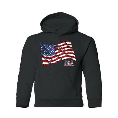 Waving American Flag USA YOUTH Hoodie 4th of July USA Sweatshirt