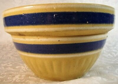 "Old Antique Blue Banded Yellow Ware stoneware Mixing Bowl Ribbed Base 4"" W x7"" T"