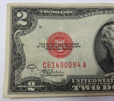 1928-D $2 Red Seal Note Two Dollar Bill US Paper Currency Note Item #15670F