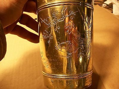 """Vintage Engraved Solid Brass Rooster,Chicken,Hen Farm Planter,9 1/2"""" tall"""