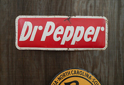"""Vintage 1954 rare Dr. Pepper red metal soda sign 48"""" Convex Bubble-out"""