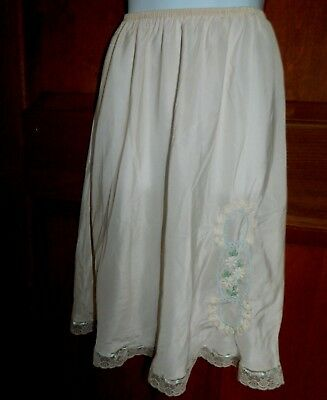Saks Fifth Avenue beautiful embroidered ivory half-slip / ribbons size Small