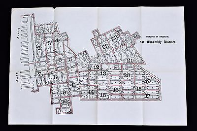 1915 Cobble Hill Brooklyn Heights Map New York City Boerum Hill Waterfront RARE