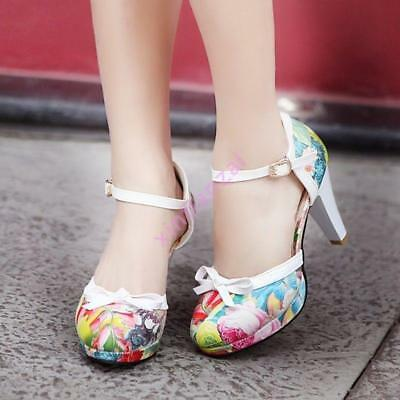 Sweet Women Round Toe Bowknot Party Floral Block New Heels Mary Jane Bridal Shoe