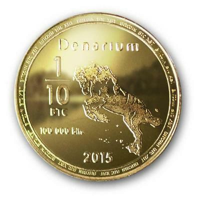 Denarium BTC Physical Bitcoin UNFUNDED GOLD PLATED Like Satori Coin Wallet