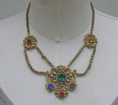 Vintage Festoon Swag Art Deco Era Red Green Amber Rhinestone Gilt  Necklace