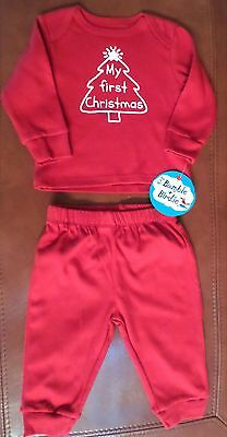 Bumble & Birdie 3Pc Baby 'My first Christmas' Top/Bottom/Hat Set Red Unisex 3 Mo
