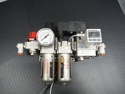 "SMC Air Filter Regulator Lubricator  1/4""- FRL With Digital Gauge and Lock Out"