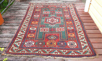 Rare Antique Caucasian Fachralo Kazak Pile Rug C1880 All Superb Vegetable Dyes