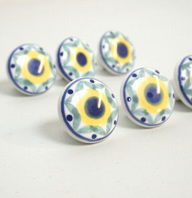 Hand Painted Ceramic Drawer Pulls Blue Yellow Flowers Knobs Set of 6
