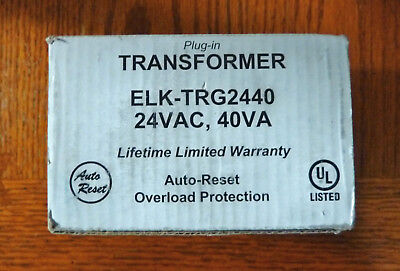 Elk TRG2440 24VAC 40 VA AC Transformer with PTC Fuse White 1 *NEW*  Power Supply