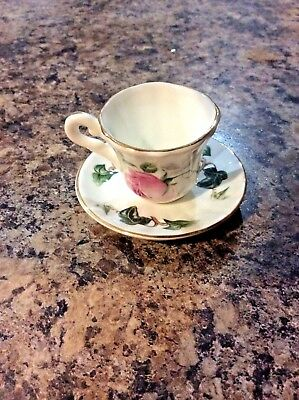 China Pink Rose England Staffordshire Fine Bone China minature cup and saucer