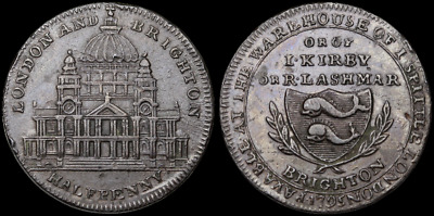 Conder Halfpenny Token, London and Brighton, I Spitter, 1795