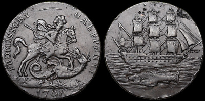 Conder Halfpenny Token, St. George Slaying the Dragon, 1796