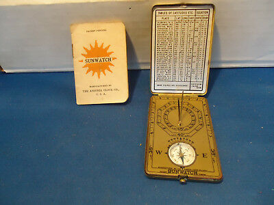 Sunwatch sundial 1921 Ansonia clock co Compass patent pending vtg USA + booklet