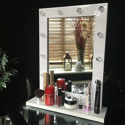 Hollywood Led Light Dressing Mirror White Led Bathroom Wall Mirror With Shelf
