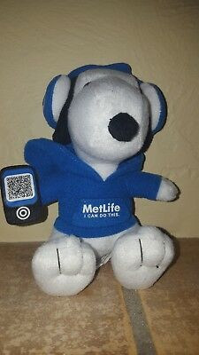 """2013 Peanuts MetLife Snoopy 6"""" Plush """"I Can Do This"""""""