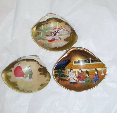 Stunning! Set of 3 Vintage Japanese Hand Painted Sea Shells, EXCELLENT cnd