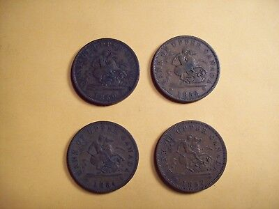 Lot Of 4 Bank Of Upper Canada Penny Tokens 1850-52-54-57