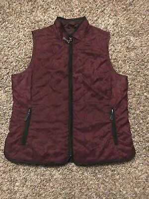 Womens Eddie Bauer Premium Goose Down Quilted Vest Embroidered Size Large Maroon