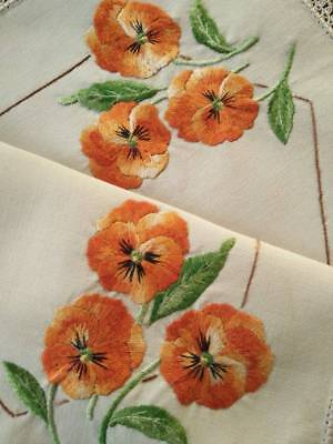 Sweet Tangerine/gold Pansies/Pansy   ~ Vintage Hand embroidered Centrepiece