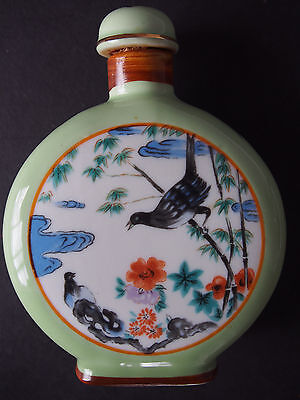 """Vtg Antique Chinese Hand Painted Bird Figure Bamboo Scent Snuff Bottle Signed 4"""""""
