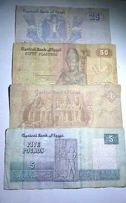 Lot of 4 Egyptian Banknotes, 1, 5 Pounds, 25, 50 Piasters, See all Scan, B1