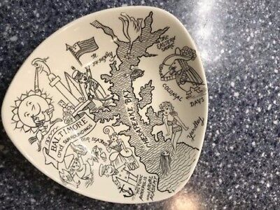 "Hutzler's Balto Centennial Dish""58 by Gray's Pottery advertising vintage Yardley"
