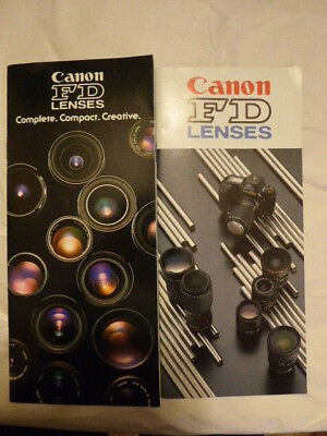 Canon FD Lenses Brochure - 2 Brochures of Complete lists
