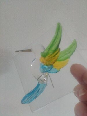 """HUMMINGBIRD"" Glass Hand-Made Hanging Ornament - (Green/Yellow/Blue) - NEW"