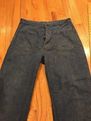 Vintage Denim US Navy dungarees pants jeans button denim WWII size 34 waist rare
