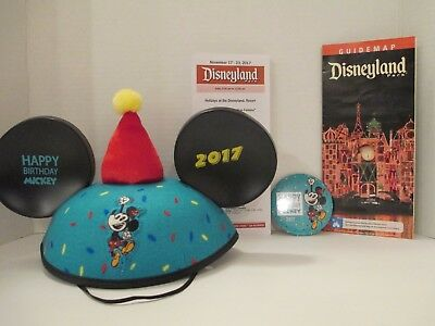 Disney Parks Happy Birthday Mickey Mouse Ears Hat 2017 + Birthday Button + Map