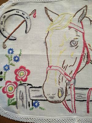 Wonderful Horse behind Fence & Flowers ~ 3 piece Hand embroidered Duchess set