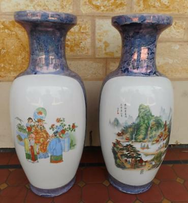 c.1950's Vintage Luster Marble Finish Twin Vases Huge 61cm Tall Oriental Asian