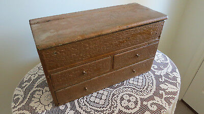 Antique Wooden Box - 4 Drawers Lift Up Lid Haberdashery Box - Storage - Rustic