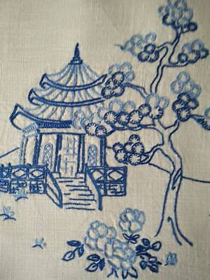 """Willow look/Oriental Large Centrepiece/mat ~Vintage hand embroidered 14""""x 19.75"""""""