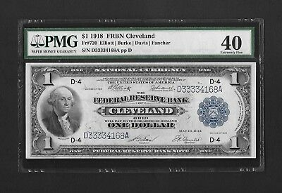 1918 $1 Federal Reserve Bank Note - Cleveland - Fr 720 - Blue Seal - PMG 40
