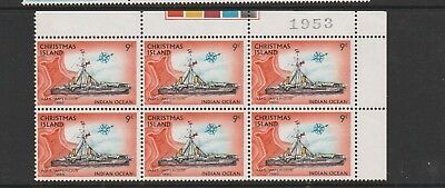 "Christmas Island 1972-73 Definitive Ships. Mint Block 6 x 9c. ""Impervious."""