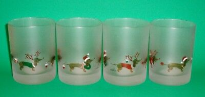Set of 4 Christmas Dachshund Double Old Fashioned Frosted Glasses  - Drinking