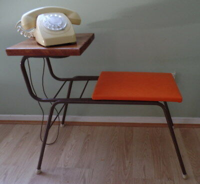 Vintage Retro Telephone Table ~ Vinyl Seat & Timber Shelf - Nth Brisbane