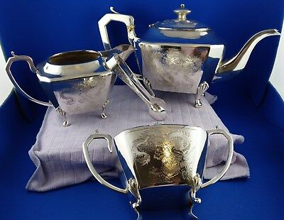 Rare Chinese Export Silver tea set with handcrafted Dragon Design