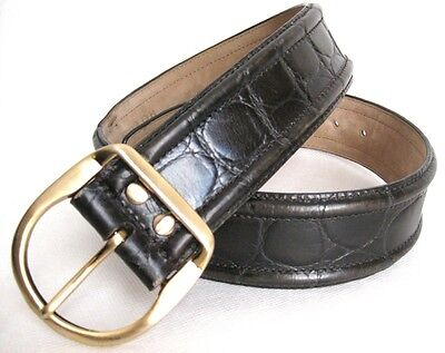 Vintage Brown Brushed Gold Metal Buckle Leather Belt
