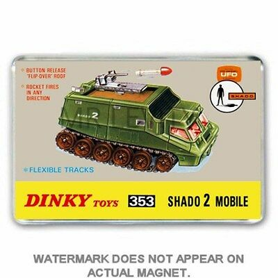 Dinky Toys- Ufo- Shado Mobile Box Art Jumbo Fridge / Locker Magnet