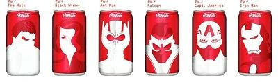 Marvel Avengers Mini Coca-Cola Can Set (New and Unopened)