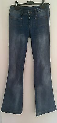 Mango MNG Blue Flared Jeans Womens Ladies Small Low Rise Vintage UK SELLER
