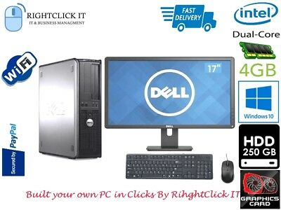 "DELL/HP DUAL CORE DESKTOP TOWER PC COMPUTER with LCD 17"" WINDOWS 10 ,4GB,250GB"